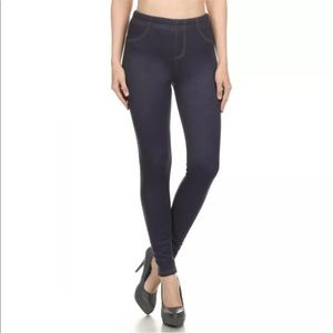 Denim - Fur lined jeggings, blue jean leggings